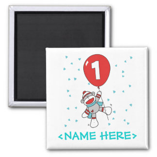 Sock Monkey First Birthday Square Magnet