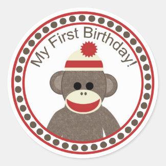 Sock Monkey First Birthday sticker