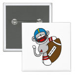 Sock Monkey Football T shirts and Gifts 15 Cm Square Badge