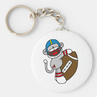 Sock Monkey Football T-shirts and Gifts Basic Round Button Key Ring