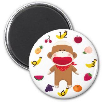 Sock Monkey Fruit Basket Magnet