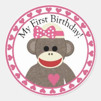 Sock Monkey Girl Birthday Sticker