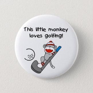 Sock Monkey Golf 6 Cm Round Badge