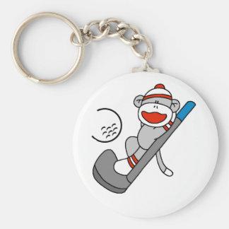 Sock Monkey  Golf Basic Round Button Key Ring