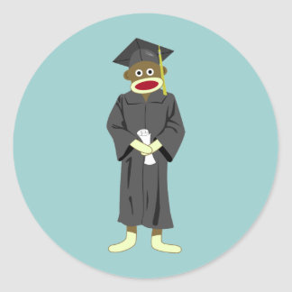 Sock Monkey Graduation Classic Round Sticker