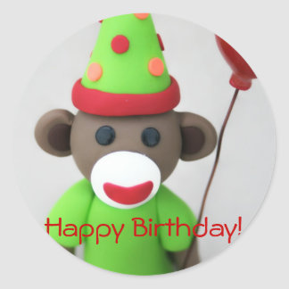 Sock Monkey Happy Birthday with Red Balloon Classic Round Sticker