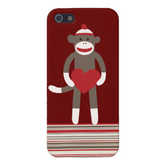Sock Monkey Heart Red Tan Striped iPhone 5 Case