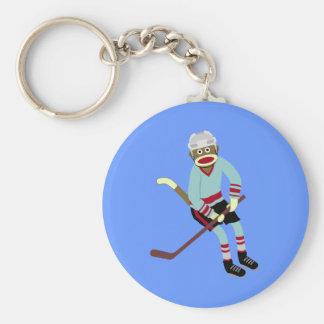 Sock Monkey Hockey Player Key Ring