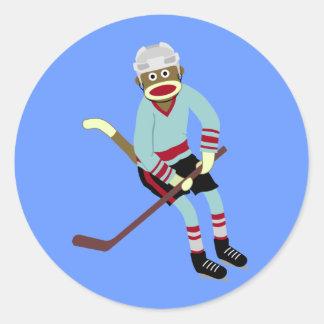 Sock Monkey Hockey Player Round Sticker