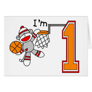 Sock Monkey Hoops 1st Birthday Card