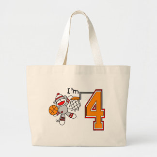 Sock Monkey Hoops 4th Birthday Large Tote Bag