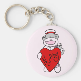 Sock Monkey I Love Nursing T-shirts and Gifts Key Ring