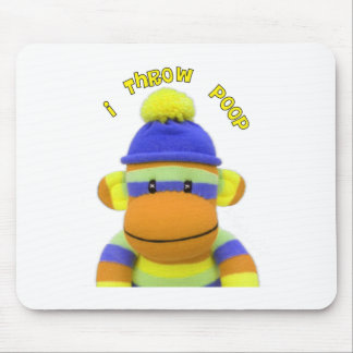 "Sock Monkey ""I Throw Poop"" Design--Adorable Mouse Pad"