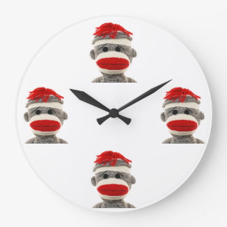 Sock Monkey Large Clock