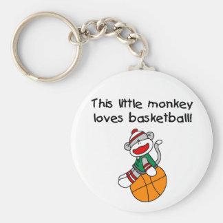 Sock Monkey Loves Basketball Key Ring