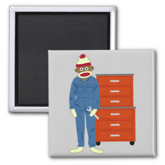 Sock Monkey Mechanic Square Magnet