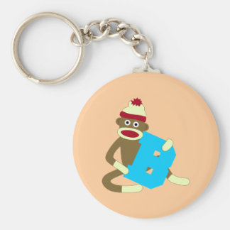 Sock Monkey Monogram Boy B Key Ring
