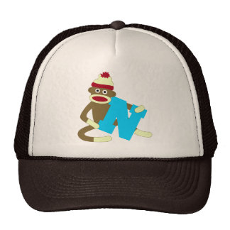 Sock Monkey Monogram Boy N Trucker Hat