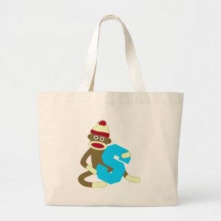 Sock Monkey Monogram Boy S Canvas Bag