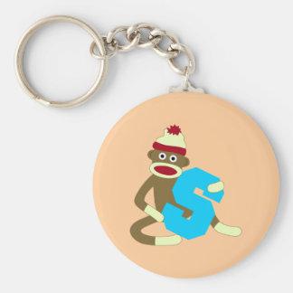 Sock Monkey Monogram Boy S Basic Round Button Key Ring