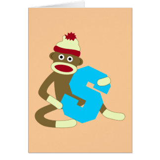 Sock Monkey Monogram Boy S Card