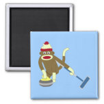 Sock Monkey Olympic Curling Square Magnet