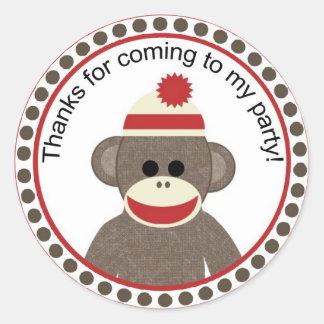 sock monkey party sticker