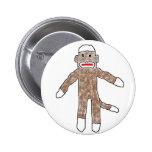 Sock monkey! pinback button