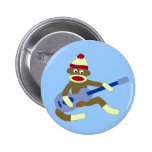 Sock Monkey Playing Blue Guitar Buttons