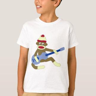 Sock Monkey Playing Blue Guitar Tee Shirt