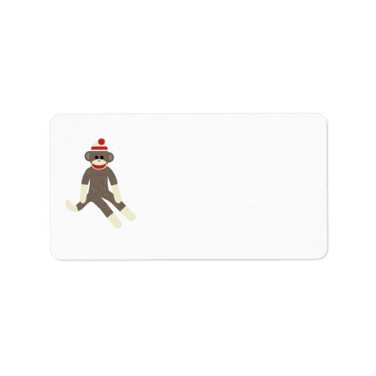 sock monkey red hat address label