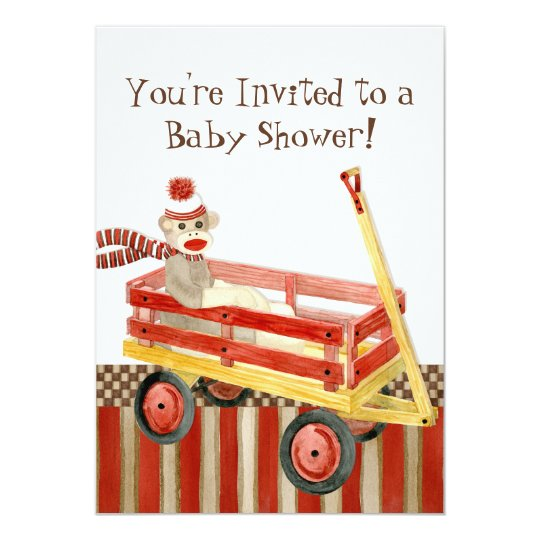 Sock Monkey, Red Wagon, Boy Baby Shower Invitation
