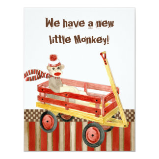 Sock Monkey, Red Wagon, Boy Birth Announcement