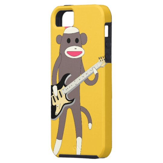 Sock Monkey Rocks w/ Electric Guitar - Iphone 5 iPhone 5 Covers