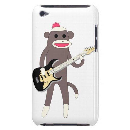 Sock Monkey Rocks w/ Electric Guitar - Ipod Touch iPod Case-Mate Case