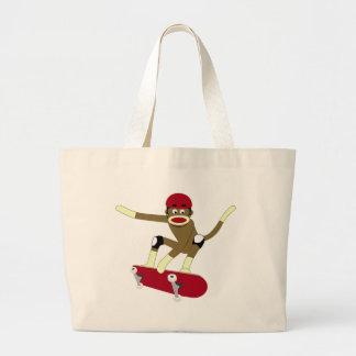 Sock Monkey Skateboarder Jumbo Tote Bag