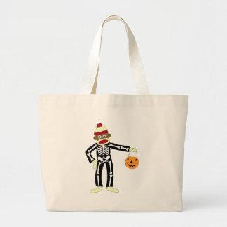 Sock Monkey Skeleton Halloween Jumbo Tote Bag