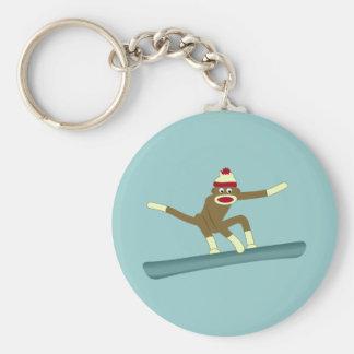 Sock Monkey Snowboarder Key Ring