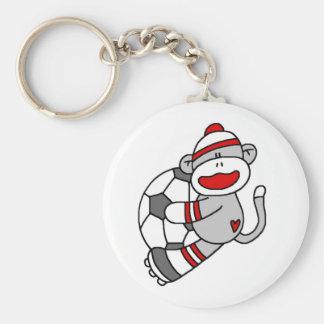 Sock Monkey Soccer Basic Round Button Key Ring