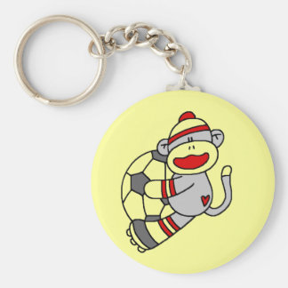 Sock Monkey Soccer Tshirts and Gifts Basic Round Button Key Ring
