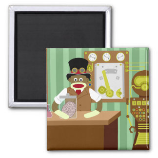 Sock Monkey Steampunk Scientist Magnet