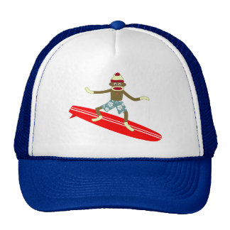Sock Monkey Surfer Trucker Hat