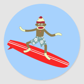 Sock Monkey Surfer Classic Round Sticker