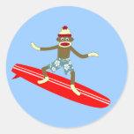 Sock Monkey Surfer Round Sticker