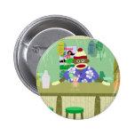 Sock Monkey Tiki Bar 6 Cm Round Badge