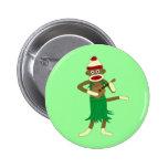 Sock Monkey Ukulele 6 Cm Round Badge
