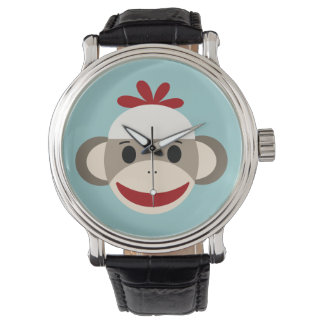 Sock Monkey Vintage Black Leather Strap Watch