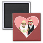Sock Monkey Wedding Square Magnet