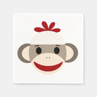 Sock Monkey White Paper Napkins