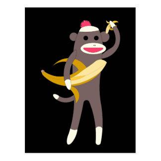 Sock Monkey with Banana Swords Postcard